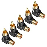 #4: NF&E Gold Plated Right Angle/90 Deg RCA Plug Adaptor Male to Female Connector Pack of 5pcs Black