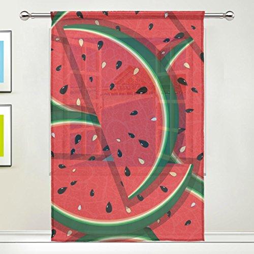 3-panel-bildschirm Zimmer (jstel Fresh Scheiben rot Wassermelone Muster, Blütenmuster Tüll Voile Tür Fenster Zimmer Sheer Vorhang Tuch 1Panel Schal Volants breit Breite Gaze Vorhang für Schlafzimmer 139,7x 198,1cm, Single Panel, Polyester, 55 x 84 Inch)