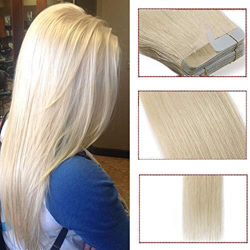 Extension capelli veri adesive riutilizzabili con biadesivo- 35cm 80g 40 ciocce #60 biondo platino - 100% remy capelli umani naturali lisci