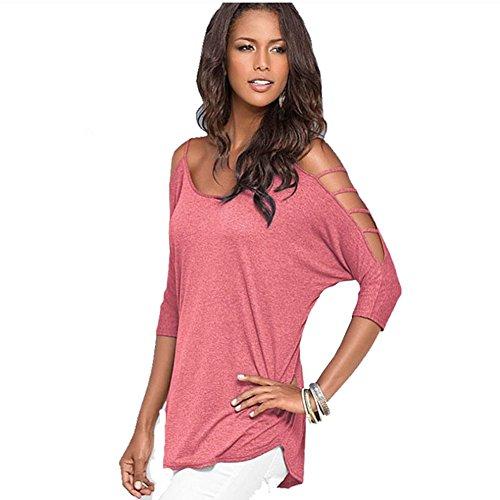 Butterme Damen Sommer Ausschnitt Bügel Schulterfrei T-Shirt Bluse Tunika Top (Wassermelonenrot,L) (Top Bluse Tunika)