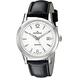 GROVANA 1209.1532 Men's Quartz Swiss Watch with Silver Dial Analogue Display and Black Leather Strap
