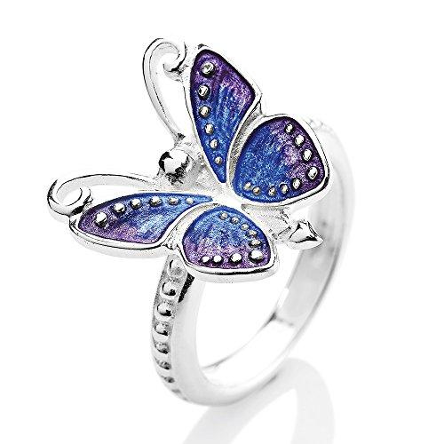 Heartbreaker Schmetterling Ring in Echtsilber | Kollektion Flying Purple | Schmetterlingring aus 925 Sterlingsilber | Niedlicher Ring für Damen (Jungen-ring-träger-outfit)