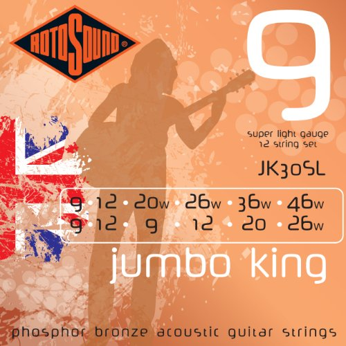 Rotosound Phosphor-Bronze-Saiten für 12-saitige Akustikgitarren Light 11-11/14-14/24-10/30-12/38-20/52-26 (Saiten E-gitarre Rotosound)