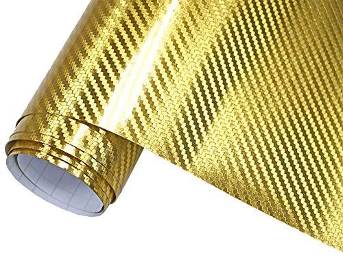 8€/m² Auto Folie 3D Carbon Folie Chrom Gold 300 x 152 cm selbstklebend BLASENFREI Wrapping Klebefolie