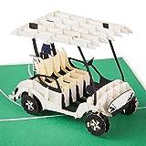 Pop-Up Karte Golf - 3D Karte mit Miniatur Golfcart als besonderes Geschenk für Golfer - Golfkarte, Kreatives Golfgeschenk zum Geburtstag, Geburtstagskarte für Golfspieler