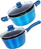 Nirlon Induction Based Bakelite, Nonstick, Aluminum Cookware Set 3.75Ltr , 1.6Ltr ,4-Pieces,Blue