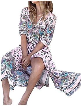 Verano Mujeres Media Manga Boho Impreso Vestido de Playa con Botón Casual Flojo Maxi Dress Sexy Cuello V Vendaje...