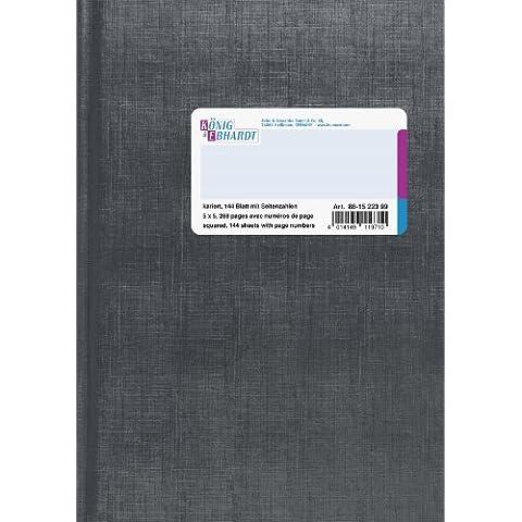König & Ebhardt libro de negocios, una manta de piel de elefante, tela escocesa, A5, 148 x 210 mm, 144 hojas, de color azul