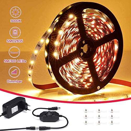 LED Streifen Warmweiss, VOYOMO LED Strips 5M Lichtband Dimmbar 3000K Selbstklebend 2835 LED Band 12V Innenbeleuchtung für Party Küche Weihnachten Haus Deko