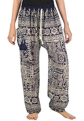 Lofbaz Mujer Pantalones Harem Boho Lazo Funky Azul