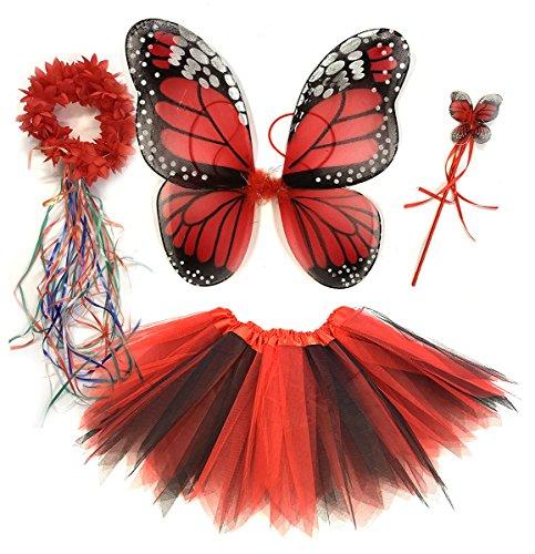 Tante Tina - Schmetterling Kostüm für Mädchen - 4-teiliges Set - Feenflügel / Schmetterlingsflügel Verkleiden - Monarchfalter Rot (Freche Fee Kostüm)