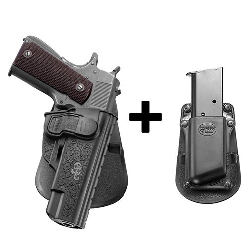 Fobus kit tactical saftey retention holster with trigger guard locking system + Single Magazine pouch for most 1911 style without rail (Airsoft-rail-system-tan)