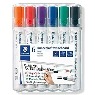 Staedtler Lumocolor 351 WP6 Whiteboard-Marker, Rundspitze ca. 2 mm Linienbreite, Set mit 6 Farben, hohe Qualität, trocken und rückstandsfrei abwischbar von Whiteboards