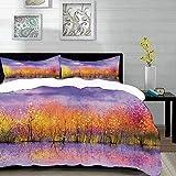 parure de lit adulte,housse de couette,Décor d'automne, peinture de paysage saisonnier avec des arbres ombragés d'automne de River ,1 Housse de couette 240 x 260cm + 2 Taies d'Oreillers 63 x 63 CM