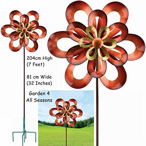 81,3 cm Large Infinity Triple Lame Kinetic Vent Spinner Sun Catcher Graden Piquet par Creekwood (Regal Art & cadeau). Grand 204 cm (7 pieds) de haut, 81 cm (81,3 cm Large). 5-pronged Fourche solide/piquet