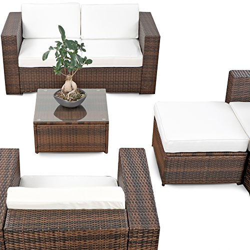 erweiterbares 15tlg xxxl polyrattan lounge sofa set kaufen braun mix sitzgruppe garnitur. Black Bedroom Furniture Sets. Home Design Ideas