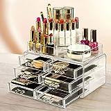 humpie Organiseur 25Compartiments Boîte Voyage Porte Maquillage Présentoir Make Up Transparent 6tiroirs cosmétiques Maquillage pinceaux