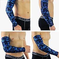 MOMEY - Mangas de protección UV para Brazo de refrigeración o Calentador para Hombres, Mujeres, niños, Azul, Medium
