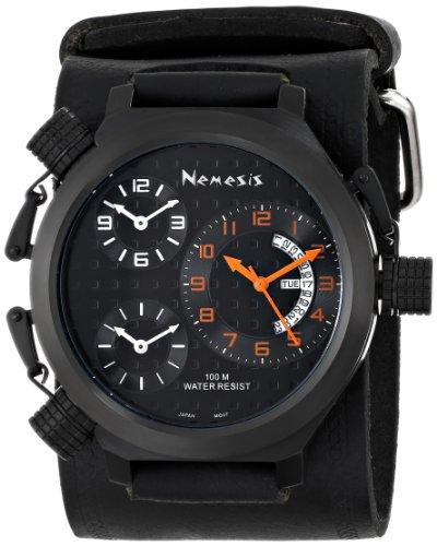 Nemesis Men's KIN080KN Signature 3-TimeZone Orange Black Leather Band Watch