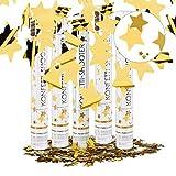 Relaxdays Set da 5 Cannoni Spara-Coriandoli, 40 cm, Stelle, Oro, Gittata 6-8 m, Matrimoni, Compleanno, Carnevale