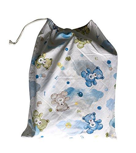 Sacchetto asilo - orsetti e nuvole azzurro -46x60 cm porta indumenti e cambio bimbo