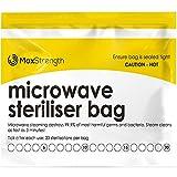Mikrowellen Sterilisationsbeutel Premium 20er Pack von Max Strength, große Dampfbeutel für Babyflaschen, Schnuller, Beißringe und Trainingstassen, 20 Anwendungen pro Beutel, Markiersystem