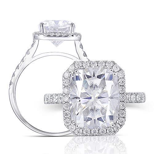 White Diamonds Tester (DovEggs  -  14K White Gold Weißgold Kissenschliff Leicht Getöntes Weiß/Top Crystal (I) Moissanit)
