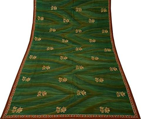Vintage Indian Sari 100% Pure Georgette Silk Embroidered Saree Fabric