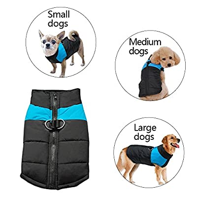 SUPEREX Small Waterproof Dog Coat Jacket Warm Padded Puffer Pet Dog Puppy Clothes Vest(Plz pay attention to the size chart)