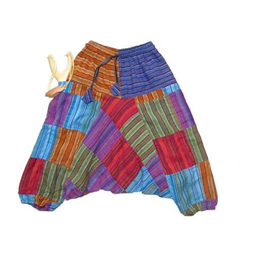 Kinderhose Patchwork Haremshose Pumphose Aladinhose Pluderhose Sarouel Hippie Patchwork Design (L) (Der In Taille Hose Gesmokt)