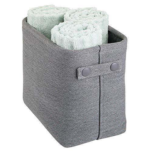 mDesign Organizer da bagno – Cesto per cosmetici asciugamani e altri accessori – Pratico contenitore con struttura rigida e manici – grigio