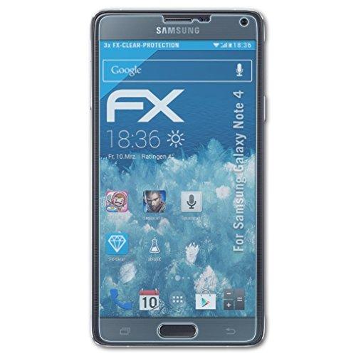 atFoliX Displayschutzfolie für Samsung Galaxy Note 4 Schutzfolie - 3 x FX-Clear kristallklare Folie (Samsung Wireless Link)