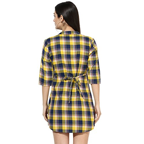 One Femme Women's Plaid Check Print Tunic (OFTNT012_Multicolor 29_XX-Large)