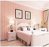 XPY-Wallpaper Europäische Moderne minimalistische 3D Streifen Selbstklebende Vliestapete Wohnzimmer Schlafzimmer Zimmer Hintergrund Tapeten, Rosa