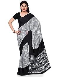 Kvsfab Women's Crepe Silk Printed Saree,Black & White