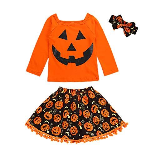 Gyratedream Baby Mädchen Kleidung Langarm T-shirt Rock 2er Set Halloween Kostüme für Kinder Kürbis Gedruckt Tops Mini Quaste Rock Skirt Outfit Set Alter 2-6 Jahre alt (Kürbis Kostüm 2 Jahre Alt)