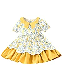 53334990de Princess Dress for 2-7 Years Old Girls Baby Sweet Girls, Ruched Short  Sleeve Floral Print Party Princess Dresses…