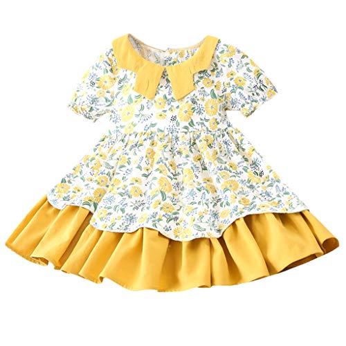 cinnamou Baby Kleider Mädchen Kurzarm Floral Print Party Prinzessin Kleider 2-7 Jahre