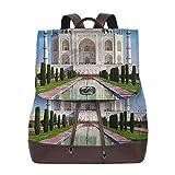 Zaino Donna Vera Pelle Taj Mahal Indian Wonder of World, Borsa Da Viaggio a Grande Capacità, Borsa a Tracolla Lady Fashion Backpack Daypack per Scuola Viaggio Lavoro