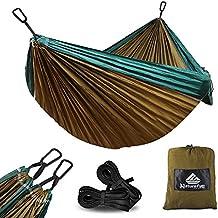 NatureFun Hamaca ultraligera para camping| 300kg de capacidad de carga, (275 x 140 cm) Estilo paracaídas de Nylon, transpirable y de secado rápido. 2 mosquetones premium, 2 eslingas de nylon incluidas | Para jardín de interior al aire libre.