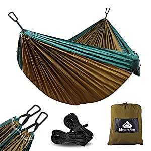 NatureFun Ultra-Light Travel Camping Hammock | 300kg Load Capacity,(275 x 140 cm) Breathable,Quick-drying Parachute Nylon | 2 x Premium Carabiners,2 x Nylon Slings Included | For Outdoor Indoor Garten