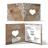 Lasergeschnittene Hochzeit Einladungskarten (30 Stück) - Rustikal mit weißer Spitze - Hochzeitskarten