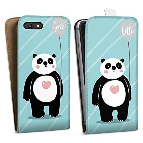 Apple iPhone X Silikon Hülle Case Schutzhülle Panda Comic Zeichentrick Downflip Tasche weiß