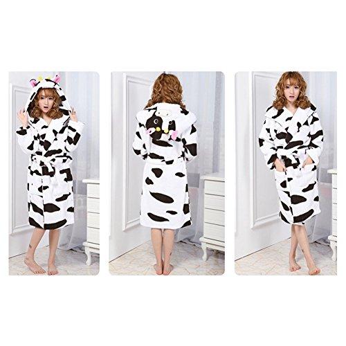 Yimidear Femmes Flanelle Peignoir Milieu Encapuchonné Peignoir avec Poches Mill cow