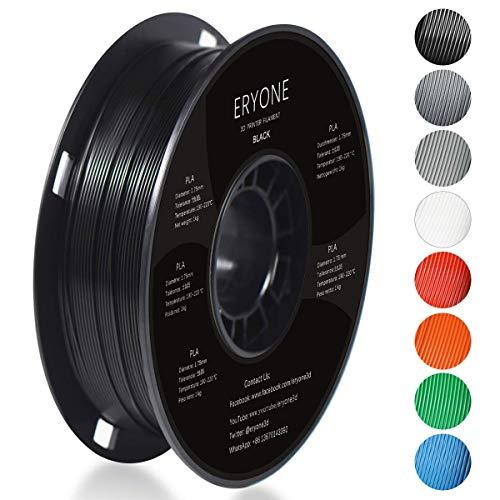 Filamento PLA 1.75mm, Eryone PLA Filamento de PLA para impresión 3D, 1kg 1 Spool,Negro