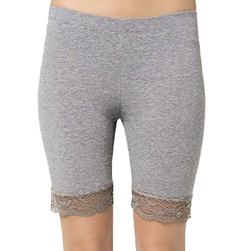 Damen Baumwoll-Lycra-Stretch geschnürt trimmen oberhalb des Knies Radhose aktiv Legging mit Spitze (ref:2195 lace) (Medium, Holzkohle(charcoal)) (Cord-stretch-leggings)
