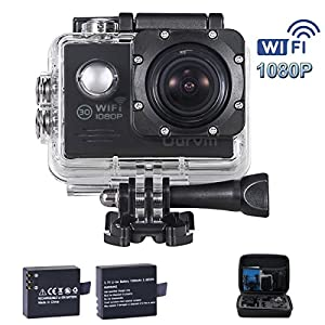 ODRVM WiFi Action Camera 30M Underwater Camera HD 1080P Action Cam with 2 Free Batteries, Portable Handbag and 19 Accessories Kits for Bike, Kids, Motorcycle, Cycling, Horse Riding, Motorcycle Helmets, Drone