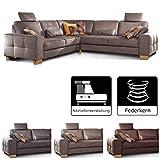 Cavadore Ecksofa Puccino mit Federkern, verstellbaren Sitztiefen und 2 Kopfstützen, Couch...