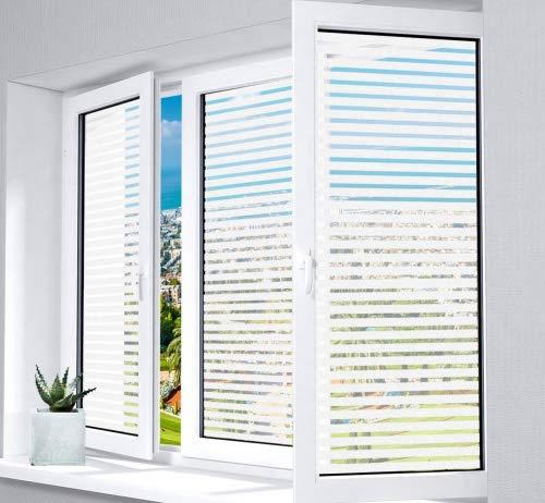 1Plusselect Fensterfolie Sichtschutzfolie ohne Klebstoff 43 x 300 cm Anti-UV Statisch Folie Milchglasfolie Streifen Fenster Aufkleber für Zuhause Schlafzimmer Küche Büro