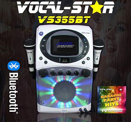 Vocal-Star CDG MP3G Bluetooth Karaoke-Maschine mit 4,3 Zoll Display & LED-Lichtshow, 2 Mikrofone & 40 Partylieder (VS355BT)